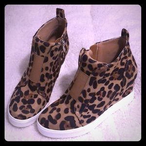 Shoes - Leopard wedge sneakers
